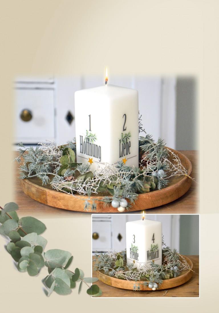 """Weihnachtskerze """" Advent-Stumpen mit Botschaften"""""""