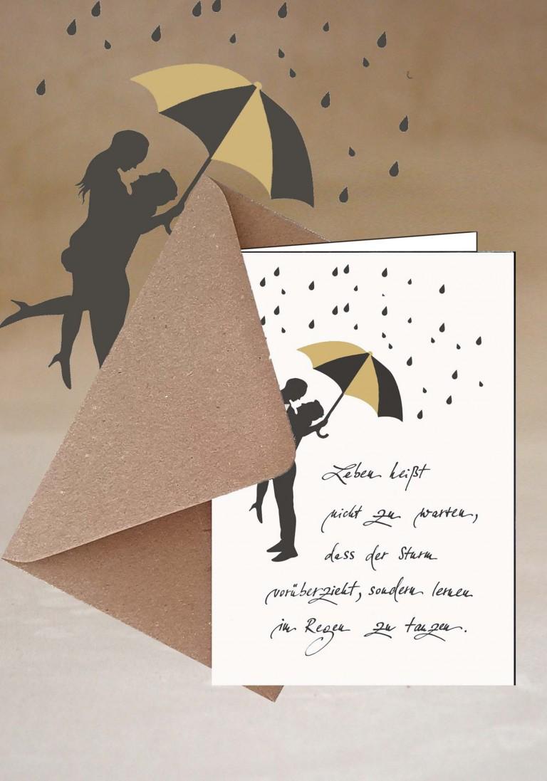Grußkarte - Im Regen tanzen