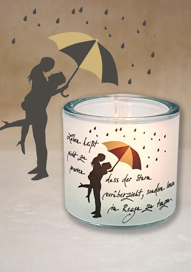 """Poesie-Glaslicht """"Im Regen Tanzen"""""""